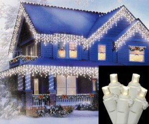 LED Warm Clear Wide Angle Icicle Christmas Lights